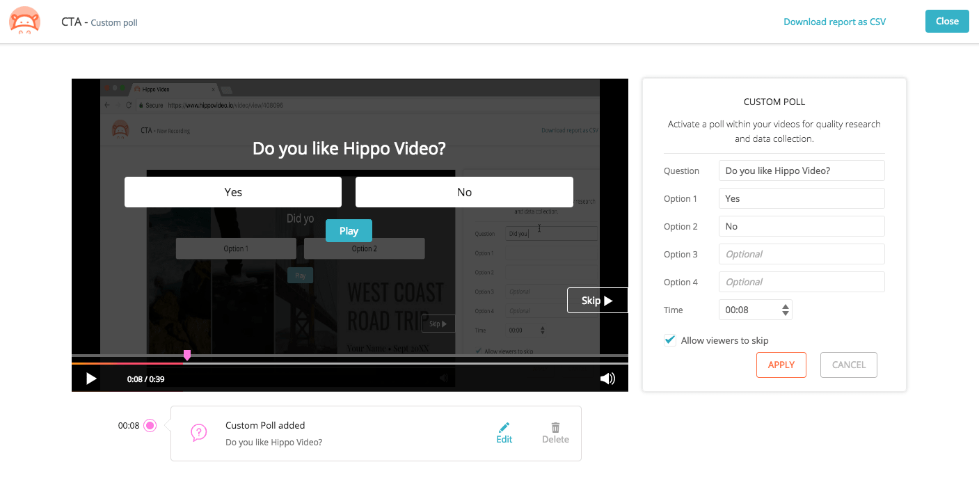 Create polls and quiz inside the video